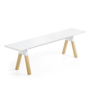 Banco STICK 160 - madera Natural asiento Blanco - pies fresno