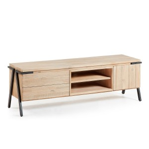 Mueble TV DISSET 165x45 - Madera Acacia Natural - Patas Metal