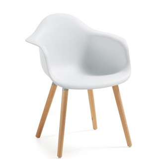 Sillon KENNA - Madera Natural Plastico Blanco