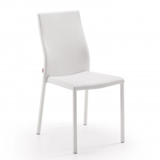 Silla aura tapizada en polipiel en color blanco for Sillas blancas tapizadas