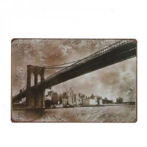 Cuadro de metal impreso vintage BROOKLYN BRIDGE 20x30
