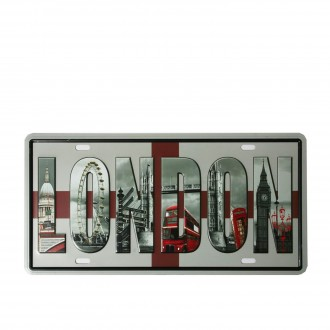 Cuadro de metal impreso vintage  REGISTRATION LONDON 15cmx30cm