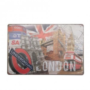 Cuadro de metal impreso vintage ALL LONDON 20x30