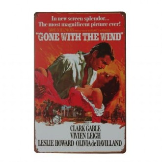 Cuadro de metal impreso vintage GONE WITH THE WIND 20x30
