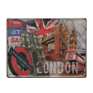 Cuadro de metal impreso vintage LONDON COLOR 30x40