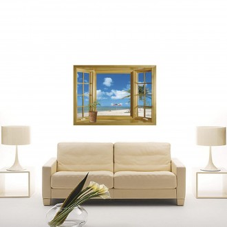 Vinilo decorativo WINDOW OF SAND BEACH