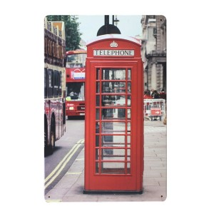 Cuadro de metal impreso vintage PHONE RED LONDON 20x30