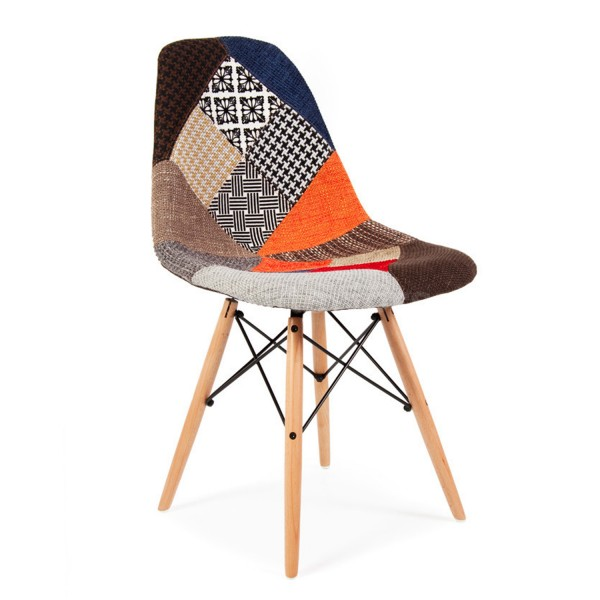 Silla tower wood tapizado patchwork eames dsw style for Tapizado de sillas precio