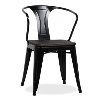 Silla BRASSY ARMS TOLIX A56 Style - metal Negro asiento madera