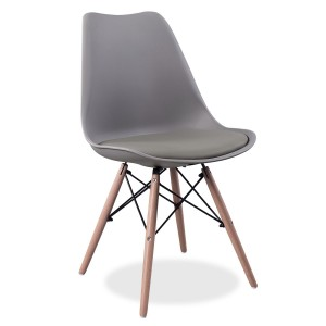 Silla TOWER FLAK Gris oscuro - con cojín - patas madera EAMES DSW Style