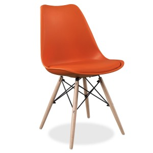 Silla TOWER FLAK Naranja - con cojín - patas madera EAMES DSW Style