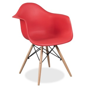 Silla TOWER WOOD ARMS - Rojo - EAMES DAW Style