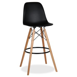 Taburete alto TOWER WOOD H80 - Negro