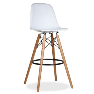 Taburete alto TOWER WOOD H80 - Blanco