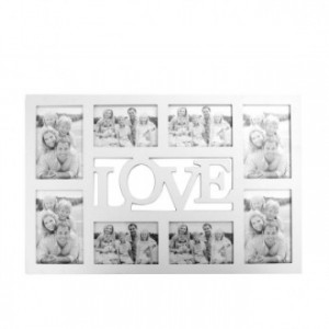 Portafotos para colgar 8 fotos LOVE 52x34 - Blanco