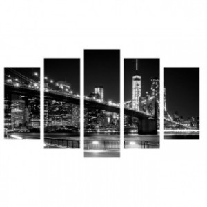 Cuadro lienzo cinco piezas BROOKLYN NIGHT SKYLINE