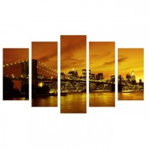 Cuadro lienzo cinco piezas BROOKLYN ORANGE SKYLINE