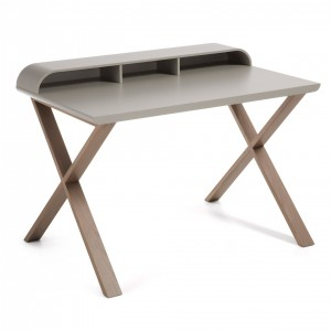 Mesa escritorio SUCCESS 120x79 - madera Roble - tablero Gris claro