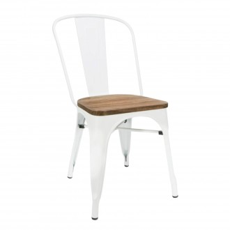 Silla A BRASSY TOLIX Style - metal Blanco - asiento madera
