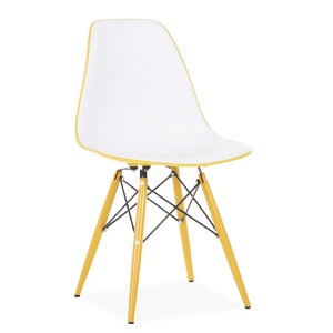 Silla TOWER WOOD DOUBLE COLOR - Blanco y amarillo - EAMES DSW Style