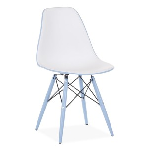 Silla TOWER WOOD DOUBLE COLOR - Blanco y azul claro - EAMES DSW Style