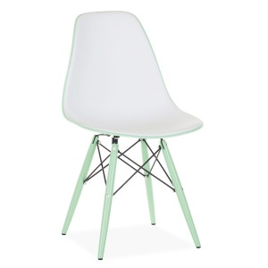 Silla TOWER WOOD DOUBLE COLOR - Blanco y Verde menta -DSW Style