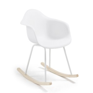 Silla balancín TOWIE WOOD ARMS - plástico y metal blanco - madera Natural