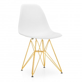 Silla TOWER METAL GOLD edition - asiento blanco - Eames DSR Style