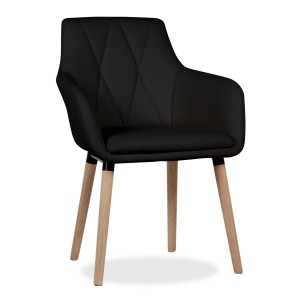 Silla SANTS - polipiel Negro - madera Roble