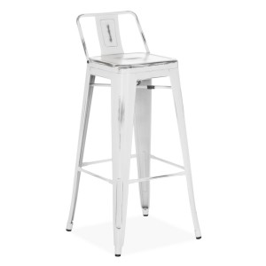 Taburete alto SQUARE TOLIX H77 Style - metal Blanco ANTIQUE