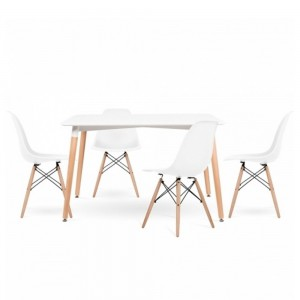 Conjunto 4 sillas DSW + mesa 120x80 TOWER LARGE color Blanco EAMES DSW