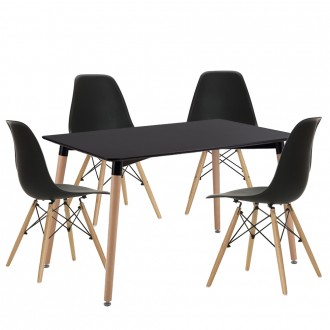 Conjunto 4 sillas DSW Style + mesa 120x80 TOWER LARGE - Negro