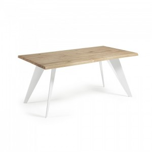 Mesa de comedor LAMARQ 180x100 - Roble Natural - metal Blanco