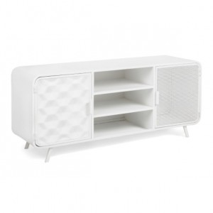 Mueble TV HORNET 140x60 - metal Blanco