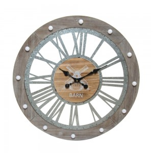 Reloj de pared con luz LED BARN 68 - madera y metal