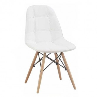 Silla Eames DSW Style tapizada - polipiel blanca - tower wood Charles & Ray Eames