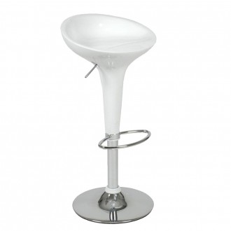 Taburete alto regulable BOMBO Style BRILLO - Blanco
