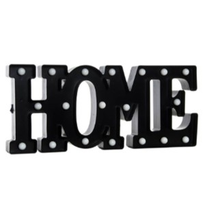 Iluminación decorativa LED letras HOME - polipropileno Negro