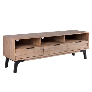 Mueble TV TAKINU 165x45 - madera de acacia Natural - metal