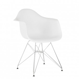Silla TOWER METAL ARMS - Blanco - Eames DAR style