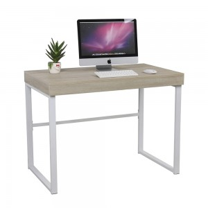 Mesa de escritorio deslizante ASK 100X60 - MDF ROBLE - metal Blanco