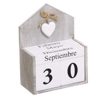 Calendario decorativo ROMANTIC - madera Natural y Blanco