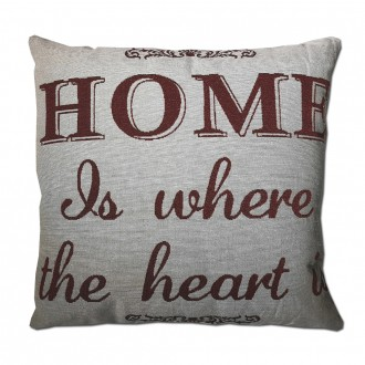 Cojín HOME IS WHERE THE HEART IS algodón 45x45 - incluye relleno