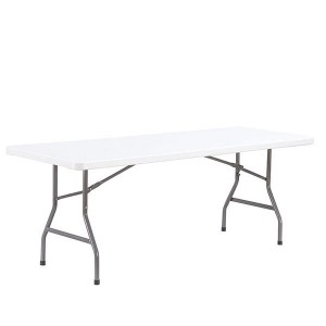 Mesa plegable PARTY 200x90 - plástico Blanco - metal Gris