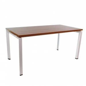 Mesa ASHBURY 160x80 - madera Nogal - metal Blanco