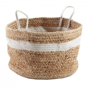 Cesta decorativa MANFER - yute Natural y Blanco