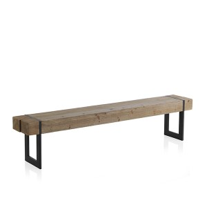Banco FURTH 200x30 - madera de abeto Natural - metal Negro