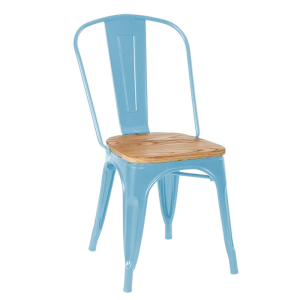 Silla A BRASSY TOLIX Style - metal Azul - asiento madera