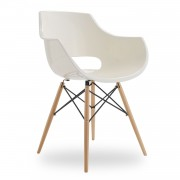 Silla TOWER WOOD ARMS HOLE - Blanco - EAMES Style
