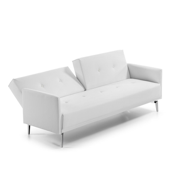 sofa flora de 200 cm tapizado polipiel blanco ideal salon. Black Bedroom Furniture Sets. Home Design Ideas